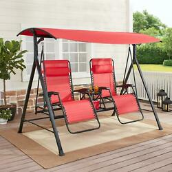 Zero Gravity Outdoor Reclining Swing with Canopy Sturdy Steel 2 Seaters NEW $314.29