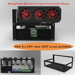 Black Mining Frame Rig Case Case Up to 6 GPU for Crypto Coin Currency Mining New $129.19