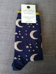 FAT FACE WOMEN#x27;S MOON AND STAR SOCKS UK 4 7 LOVELY GIFT NAVY BLUE SPARKLY GBP 6.00