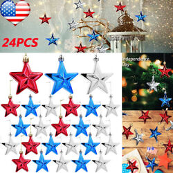 24pcs 4th of July Star Ornaments Hanging Independence Day Star Party Home Decor