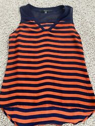 Fun 2 Fun Women#x27;s Navy Blue and Orange Striped Tank Size Small Sheer $12.00