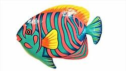 Hand chiseled and Painted Tropical Metal Art Wall Decor Fish $22.02