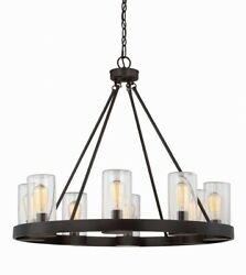 8 Light Outdoor Chandelier Transitional Style with Industrial and Rustic $502.20