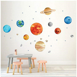 Planet Wall Decals H2MTOOL Removable Solar System Watercolor Space Wall for $17.51