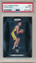 LONZO BALL 2017 18 PANINI PRIZM #289 RC ROOKIE LAKERS PELICANS PSA 10 GEM MINT