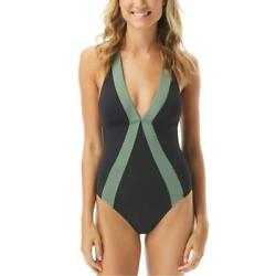 Vince Camuto Womens Black Halter Colorblock One Piece Swimsuit 10 BHFO 6250