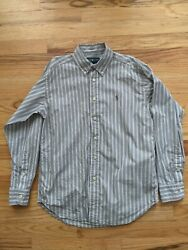 RALPH LAUREN BOYS Size M 10 12 Gray Pattern Dress Shirt Very Nice $9.99