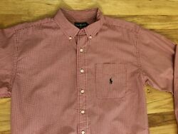RALPH LAUREN BOYS Size L Large Dress Shirt Nice Red Check Pattern $9.99