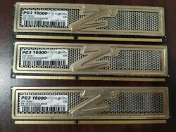 Lot of 3 DDR3 2GB PC3 16000 10 10 10@1.65v OCZ3G2000LV6GK desktop Memory Tested $36.00