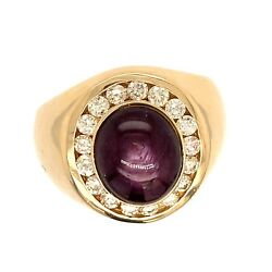 $18000 14K Yellow Gold Star Ruby Ring Diamond Halo Size 8 Men#x27;s Cocktail Red $2750.00