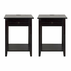 Casual Home Night Owl Bedroom Nightstand with Discrete USB Port Station 2 Pack $198.99