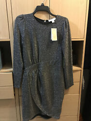 MICHAEL KORS Womens Silver Blac Long Sleeve Short Party Dress Size: XS MSRP.$125 $19.99