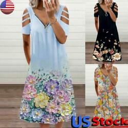 Women Floral Print Boho Dress Cold Shoulder Hollow Zip V Neck Beach Sundress US $15.80