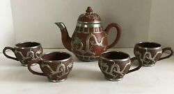 Vintage 3D Dragonware Zisha Tea Set With Silver Scroll Work Of A Dragon Scene 4 $49.99