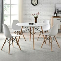 Mainstays Mid Century Modern Dining Chair Set of 4 White and Beech Color $99.00