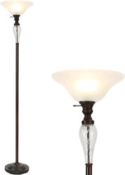Co Z Antique Bronze Torchiere Floor Lamp With Glass Shade Tall Torch Lamp For L $73.55