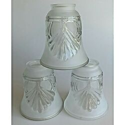 Three Clear and Frosted Glass Fan Lamp Replacement Shades Shell Pattern $17.50