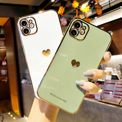 For iPhone 12 11 Pro Max XS XR 8 7 Plus Plating TPU Case Cute Love Heart Cover $6.56