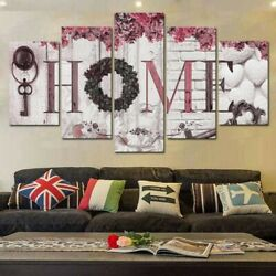 5 Panel Concise Fashion Wall Paintings Home Letter Wall Art Decorative Painting $11.99