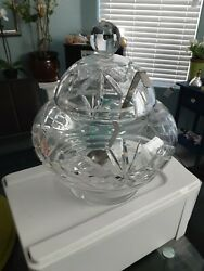 VINTAGE CRYSTAL 9 1 2quot; PUNCH BOWL WITH LID ARCHES STARS FAN CUTS $70.00
