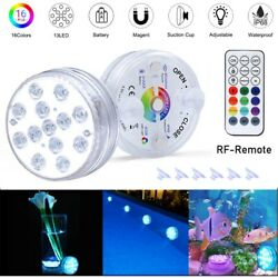 Submersible Swimming 13 LED Pool Lights Magnetic Underwater with Remote 16 Color $10.43
