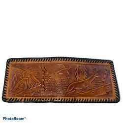 Vintage Hand tooled Leather Bi fold Wallet Made in Mexico Rare All Over Art $29.99