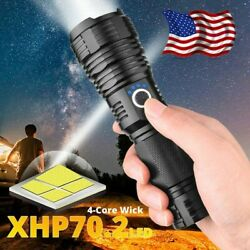 80000LM XHP70.2 Powerful LED Flashlight Rechargeable USB Zoomable Torch 26650 $18.04