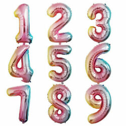 Number Rainbow Balloons 40in XLarge Party Helium Foil Birthday Balloon Decor $2.95