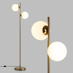 65quot; Electrical LED Floor Glass Lamp Shades W 2 Headlight Bulbs Footswitch Home $77.99