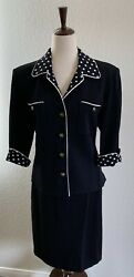 St John Collection by Marie Grey Black White Skirt Suit Size 14 $275.00