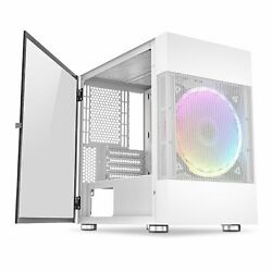 White Micro ATX Mini Tower PC Gaming Computer Case Micro With 200mm Rainbow Fan $64.92