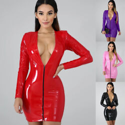 Sexy Women Deep V Neck Leather Dress Long Sleeve Party Club Wrapped Short Dress $27.99