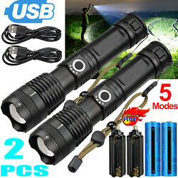 2Pc Powerful 990000LM LED Flashlight Rechargeable USB Torch Camping Hiking Lamp $24.78
