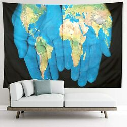 World Map Hands Tapestry Wall Hanging for Wall Art Home Decor 51x59quot; $14.99