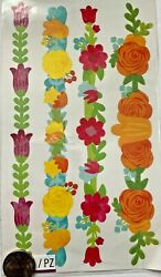 Sticko colorful flower stickers watercolor Border 8quot; light embossed glitter $1.80