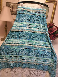 Adorable Summer Tea Party Teal Blue Hankerchief Skirt Wispy Abstract Maurices L $16.00