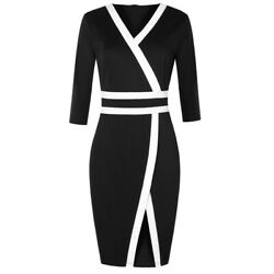 Women#x27;s 3 4 Sleeve Colorblock Party Cocktail Wear To Work Business Church Dress $22.91