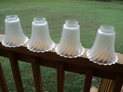 Set of 4 Tulip shades Frosted Swirl Glass Globes Light Fixture Lamp Ceiling Fan $28.00