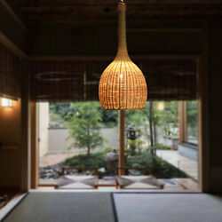 Bamboo Hanging Ceiling Lamp Pendant Chandelier Light Fixtures Pull Cord Switch $177.02
