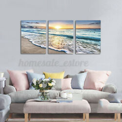 3Pcs Framed Modern Wall Art Painting Canvas Picture Sunset Sand Ocean Sea Wave $24.56