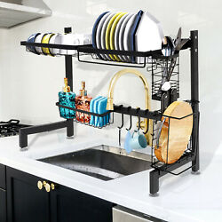 2 Tier Over Sink Dish Drying Rack Stainless Steel Kitchen Shelf Cutlery Drainer $38.99