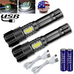 990000LM P50 COB LED Flashlight Rechargeable USB Zoomable Torch Light 5Mode Lamp $14.19