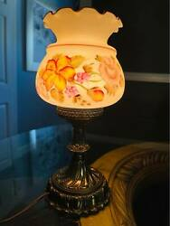 Vintage Brass Lamp with Westmoreland Glass floral Bouquet Shade. $50.00