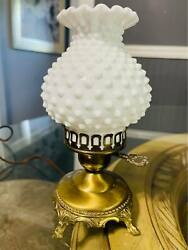 Vintage Ornate Brass Lamp with Hobnail Glass Shade. RARE $55.00