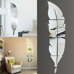 DIY Feather Mirror Glass Tile Self Adhesive DIY Wall Sticker Home Decal Decor US $8.79
