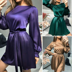 US Womens Casual Loose Satin Dress Puff Sleeve Round Neck Tunic Dress Party Plus $17.51