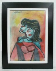PABLO PICASSO 1881 1973 PASTEL ON PAPER WITH FRAME IN GOOD CONDITION $150.00