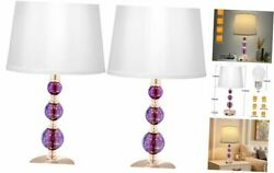 3 Way Dimmable Touch Crystal Bedroom Lamp with USB and Type C Charging Purple $157.76