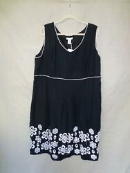 NWT Black Linen Sleeveless Embroidered Floral PLUS SIZE Tweeds Dress 24W 2XL $19.99