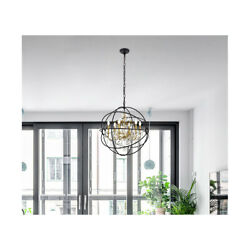 CRYSTAL CHANDELIER BLACK AND GOLD PENDANT GLOBE SPHERE DINING ROOM 6 LIGHT 25.5quot; $612.68